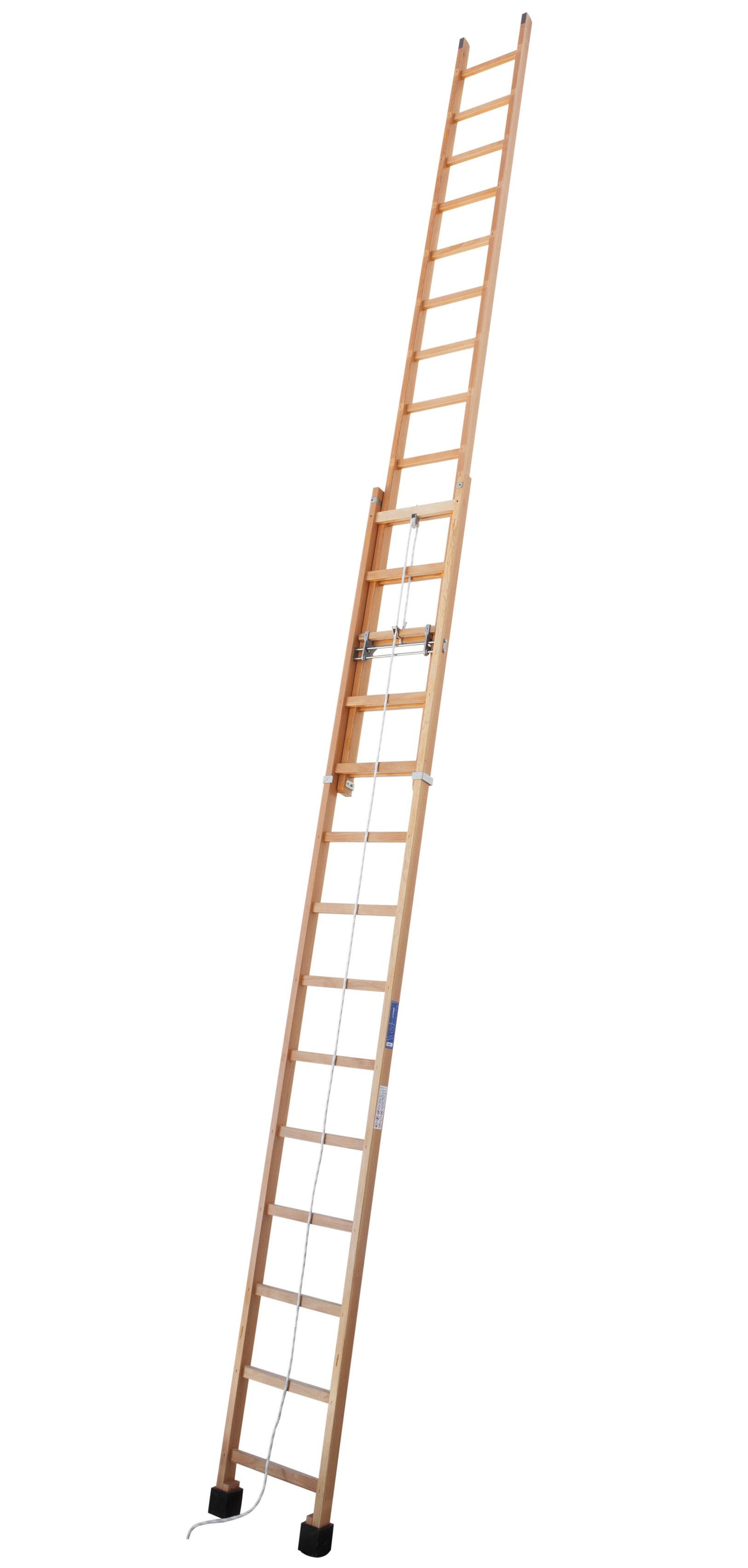 Escalera De Madera Extensible A Cuerda