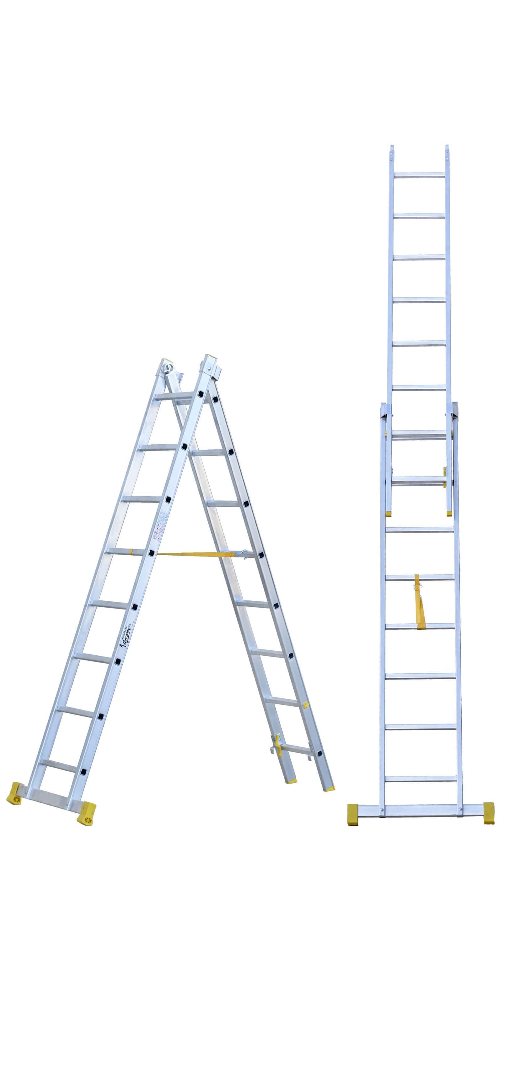 Escalera de aluminio transformable de 2 tramos escaleras for Escalera madera 2 tramos