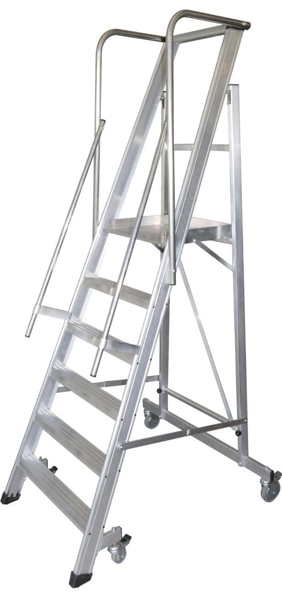 Escalera Plegable De Aluminio De Almacén Con Pasamanos