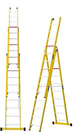 Escalera combinada de tres tramos